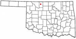 Location of Cherokee within Oklahoma