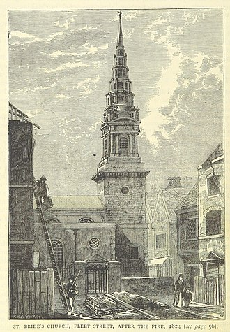 St Bride's Church - St Bride's Church, 1824.