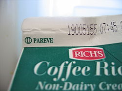 """The circled U indicates that this product is certified as kosher by the Orthodox Union (OU). The word """"pareve"""" indicates that this product contains neither milk nor meat derived ingredients"""