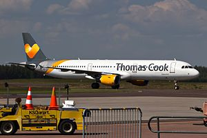 Thomas Cook Airlines Scandinavia - A Thomas Cook A321 in the airline's current livery at Karlstad Airport.