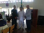 Oberdan Alvarez, presidente da Federação do Rio de Janeiro, GM.Ko Ju Sik, e GM.Sérgio Fernandes, no Seminário internacional de Guaxupé-MG