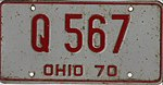 Ohio 1970 license plate - Number Q 567.jpg