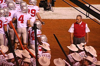 History of Ohio State Buckeyes football - Jim Tressel and team at halftime of the 2006 game at Texas.