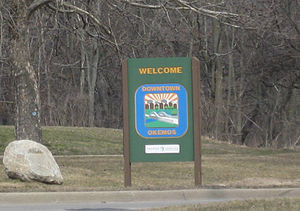 Okemos, Michigan - Welcome to Okemos, Michigan sign  along northbound Okemos Road