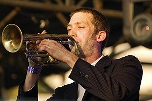 Okkervil River - Scott Brackett playing trumpet at the 2007 Fun Fun Fest in Austin, Texas