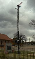 Old Depot sign and railway signal, Colo. Springs.jpg