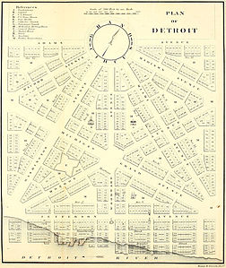 1807 map of Woodward's Detroit street plan