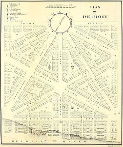 1807 mappa del piano stradale di Woodward a Detroit