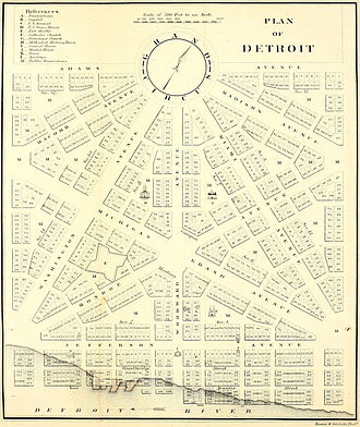 Roads and freeways in metropolitan Detroit - Augustus Woodward's plan following the 1805 fire for Detroit's baroque styled radial avenues and Grand Circus Park.