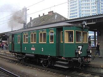 Steam railcar - A Komarek/Ringhoffer steam railcar, now preserved at the Czech Railway Museum