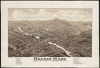 Orange, Massachusetts - Print of Orange by L.R Burleigh from 1883 with list of sights
