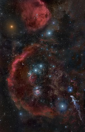 Red supergiant star - The Orion region showing the red supergiant Betelgeuse