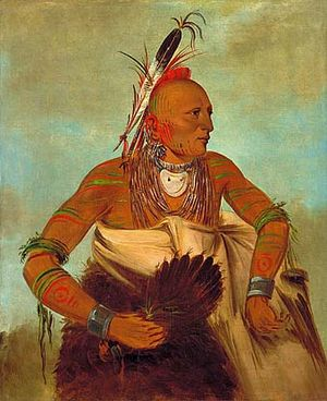 Jasper County, Missouri - Portrait of an Osage warrior, painted by George Catlin in 1834.