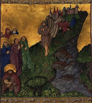 Exorcism of the Gerasene demoniac -  Medieval illumination of Jesus exorcizing the Gerasene demoniac from the Ottheinrich Folio