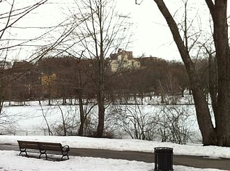 Brookline, Massachusetts - Overlooking Leverett Pond in Olmsted Park from the Brookline side