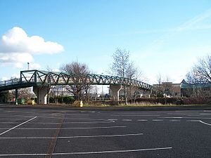 Overspill parking - Overspill car park for shopping centre; reached by footbridge