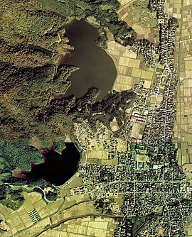 Oyama Kami-ike and Shimo-ike water reservoirs Aerial photograph.1976.jpg