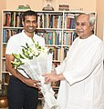 P. Gopichand with CM Naveen Patnaik.jpg