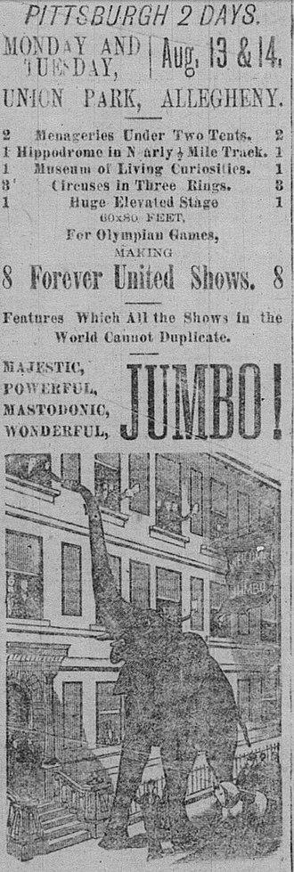 Recreation Park (Pittsburgh) - Part of ca.1883 Barnum's newspaper advertisement