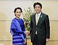PM Abe with Aung San Suu Kyi April 2013 (1).jpg