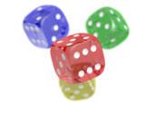 Four transparent dices