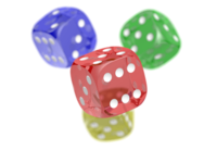 Three colored dice over a white background