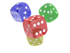 POV-Ray - Some dice rendered in POV-Ray. CSG, refraction and focal blur are demonstrated.