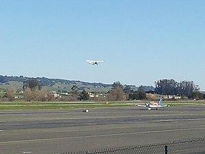 Petaluma Municipal Airport - A cessna 172SP of the Petaluma Pilot Training Center Departing from runway 110.