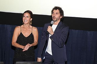 "Belén López (actress) - López (left) and Paco Leon at the Miami Film Festival presentation of ""WE ARE PREGNANT"""