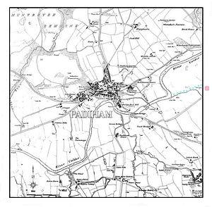 River Calder, Lancashire - Image: Padiham map ca 1844