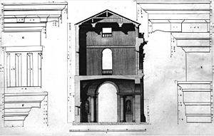 Palazzo del Capitaniato - Palazzo del Capitaniato, section (drawing by Ottavio Bertotti Scamozzi, 1776).