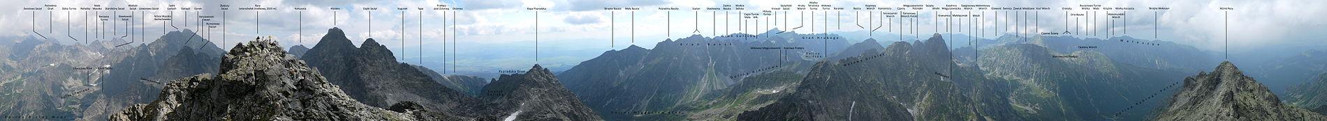 Panorama z granicznego wierzchołka Rysów