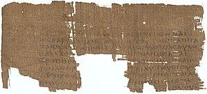 Papyrus 25 - Image: Papyrus 25 Staatliche Museen zu Berlin inv. 16388 Gospel of Matthew 18,32 34 19,1 3.5 7.9 10 verso