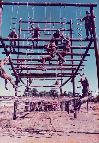 South African Defence Force - SADF paratroops in training.