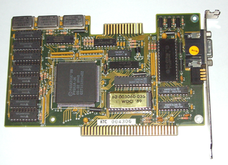 Feature connector - Paradise Systems 8-bit ISA video card with feature connector (on the top)