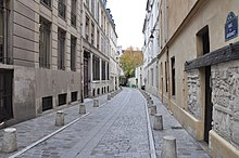 Parisian street view of narrow side-street