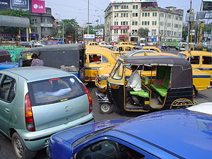 Park Circus - Traffic congestion at the Park Circus seven point crossing.
