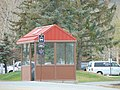 Park City Transit bus stop shelter at Park City High School, Apr 16.jpg
