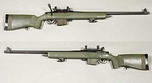 Parker-Hale M85 - Parker Hale M85 sniper rifle with scope mounts but no rifle scope