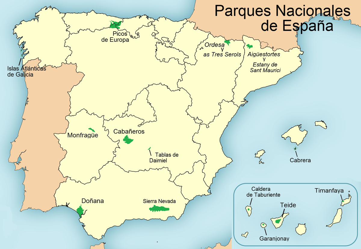 List of national parks of Spain and their relationship to sites of