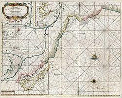 Pascaart vertoonened de zeecusten van Chili Peru Hispania Nova Nova Granada.jpg