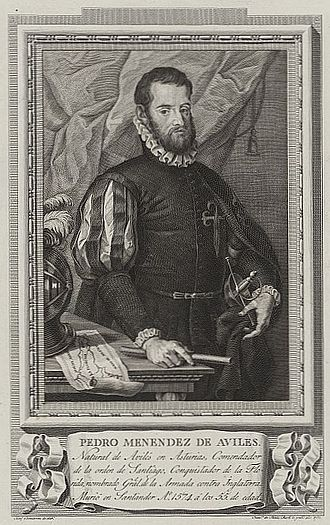 Hispanic and Latino Americans - Pedro Menéndez de Avilés, 16th-century Spanish admiral who founded the first European settlement in North America at Saint Augustine, Florida in 1565