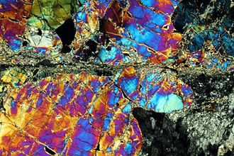 Mylonite - Periodotitic mylonite in a petrographic microscope