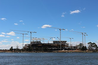 Perth Stadium - Perth Stadium under construction, photographed from East Perth in March 2016
