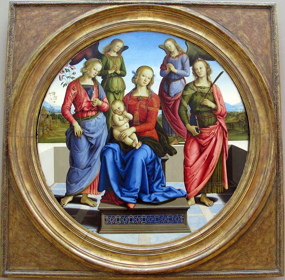 La Vierge et l'Enfant entourés de deux anges, sainte Rose et sainte Catherine