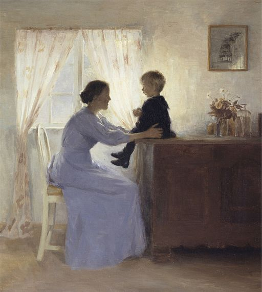 Peter-ilsted-mother-and-child-in-an-interior-1898