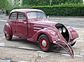 Peugeot 402 Légère with grill removed photographed outside the museum workshop at Sochaux.JPG