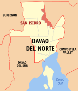 Map of Davao del Norte with San Isidro highlighted