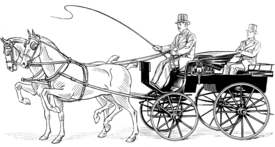 a cartoon of a man holding a whip sitting on top of an open carriage being drawn by two horses