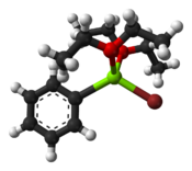 Ball-and-stick model of the PhMgBr-diethyl ether adduct